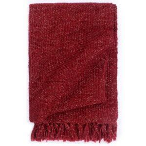 Manta em tecido lurex 160x210 cm bordô  - PORTES GRÁTIS
