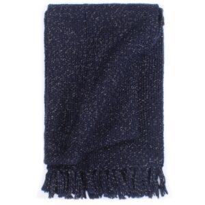 Manta em tecido lurex 220x250 cm azul-marinho  - PORTES GRÁTIS