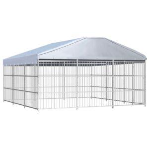 Canil de exterior com telhado 450x450x200 cm - PORTES GRÁTIS