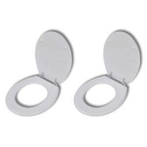 Assentos de sanita com tampas 2 pcs MDF branco - PORTES GRÁTIS