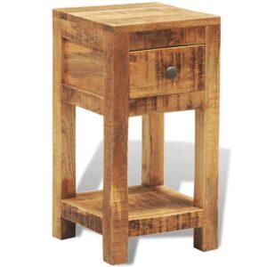 Mesa de cabeceira com 1 gaveta, madeira de mangueira maciça  - PORTES GRÁTIS