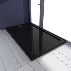 Base de chuveiro retangular ABS 70 x 120 cm preto  - PORTES GRÁTIS
