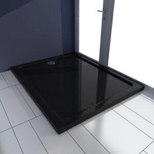 Base de chuveiro retangular ABS 80 x 100 cm preto  - PORTES GRÁTIS
