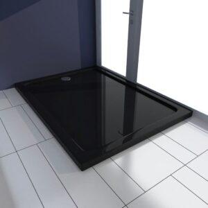 Base de chuveiro retangular ABS 80 x 110 cm preto  - PORTES GRÁTIS