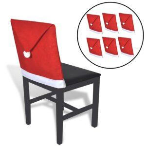 6 gorros Pai Natal capas cadeiras