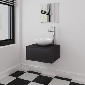 Móveis casa de banho 3 pçs  e conjunto de bacia preto - PORTES GRÁTIS
