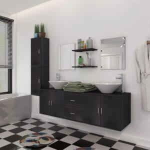 Móveis casa de banho 9 pçs e conjunto de bacia, preto - PORTES GRÁTIS