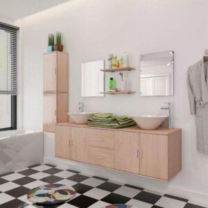Móveis casa de banho 9 pçs e conjunto de bacia, bege - PORTES GRÁTIS