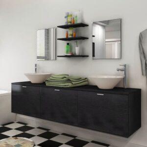 Móveis casa de banho 8 pçs e conjunto de bacia, preto - PORTES GRÁTIS