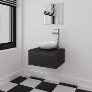 Conjunto móveis casa de banho 4 pcs com bacia e torneira, preto - PORTES GRÁTIS