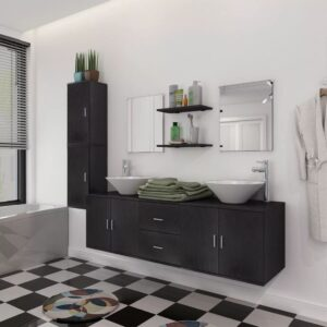 Conjunto móveis casa de banho 11 pcs com bacia e torneira preto - PORTES GRÁTIS