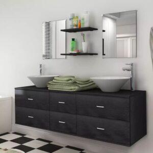 Conjunto móveis casa de banho 9 pcs com bacia e torneira preto - PORTES GRÁTIS