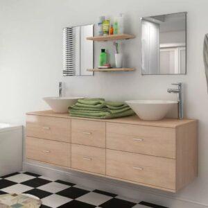 Conjunto móveis casa de banho 9 pcs com bacia e torneira bege - PORTES GRÁTIS
