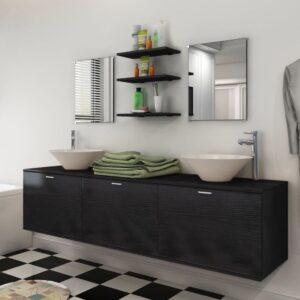 Conjunto móveis casa de banho 10 pcs com bacia e torneira preto - PORTES GRÁTIS