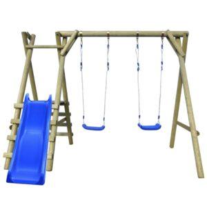 Conjunto baloiço com escadas e escorrega 270x255x210 cm pinho  - PORTES GRÁTIS