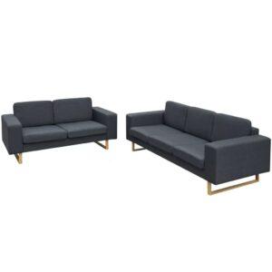 Conjunto sofá de 3 lugares e 2 lugares cinzento escuro - PORTES GRÁTIS