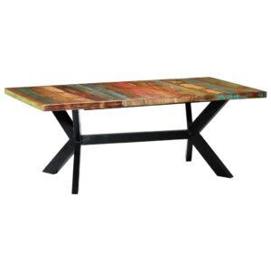 Mesa de jantar 200x100x75 cm madeira recuperada maciça  - PORTES GRÁTIS