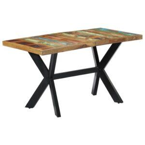 Mesa de jantar 140x70x75 cm madeira recuperada maciça - PORTES GRÁTIS