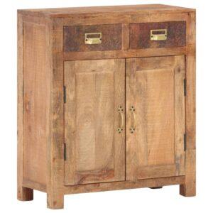 Aparador 65x30x75 cm madeira de mangueira maciça e áspera - PORTES GRÁTIS