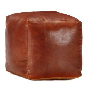 Pufe 40x40x40 cm couro de cabra genuíno bronze - PORTES GRÁTIS