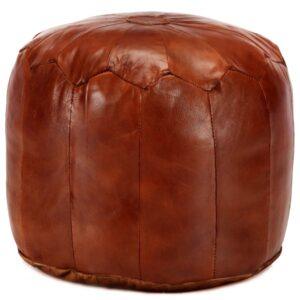 Pufe 40x35 cm couro de cabra genuíno bronze - PORTES GRÁTIS