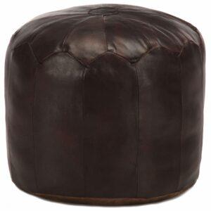 Pufe 40x35 cm couro de cabra genuíno castanho-escuro - PORTES GRÁTIS