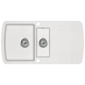 Lava-louça com 2 cubas granito branco - PORTES GRÁTIS