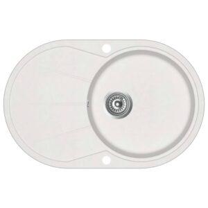 Lava-louça com 1 cuba oval granito branco - PORTES GRÁTIS