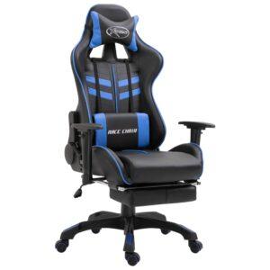 Cadeira de gaming com apoio de pés PU azul - PORTES GRÁTIS