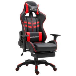 Cadeira de gaming com apoio de pés PU vermelho - PORTES GRÁTIS