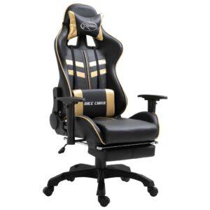Cadeira de gaming com apoio de pés PU dourado - PORTES GRÁTIS