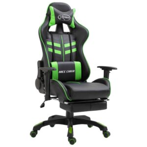 Cadeira de gaming com apoio de pés PU verde - PORTES GRÁTIS