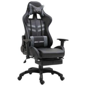 Cadeira de gaming com apoio de pés PU cinzento - PORTES GRÁTIS