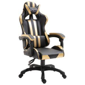 Cadeira de gaming PU dourado - PORTES GRÁTIS