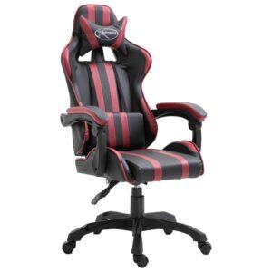 Cadeira de gaming PU vermelho tinto - PORTES GRÁTIS