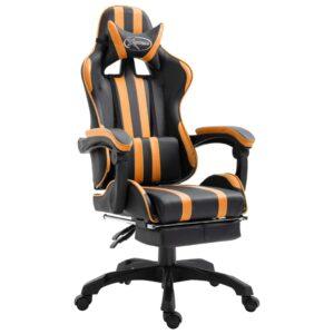 Cadeira de gaming com apoio de pés PU laranja - PORTES GRÁTIS
