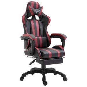 Cadeira de gaming c/ apoio pés couro artificial vermelho tinto - PORTES GRÁTIS