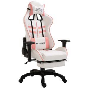 Cadeira de gaming com apoio de pés PU rosa  - PORTES GRÁTIS