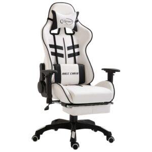 Cadeira de gaming com apoio de pés PU preto  - PORTES GRÁTIS