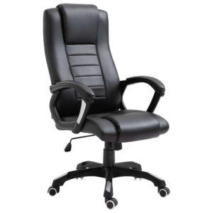 Cadeira de escritório em couro artificial preto - PORTES GRÁTIS