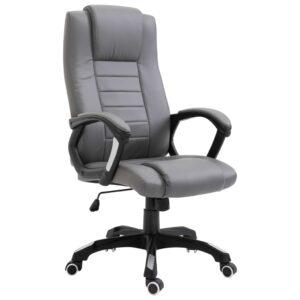 Cadeira de escritório em couro artificial antracite - PORTES GRÁTIS