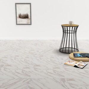 Tábuas de soalho autoadesivas 5,11 m² PVC mármore branco - PORTES GRÁTIS