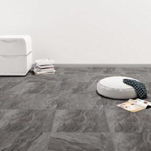 Tábuas de soalho autoadesivas 5,11 m² PVC preto com padrão - PORTES GRÁTIS