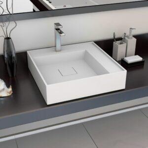 Lavatório 50x50x12,3 cm mineral/mármore fundido branco - PORTES GRÁTIS