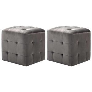 Mesas de cabeceira 2 pcs 30x30x30 cm veludo cinzento - PORTES GRÁTIS