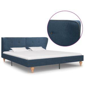 Estrutura de cama em tecido azul 160x200 cm - PORTES GRÁTIS