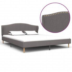 Estrutura de cama em tecido 160x200 cm cinzento-claro - PORTES GRÁTIS