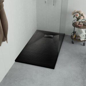 Base de chuveiro SMC 120x70 cm preto - PORTES GRÁTIS