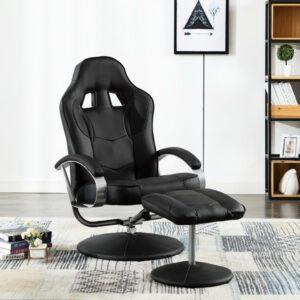 Cadeira estilo corrida c/ apoio de pés couro artificial preto - PORTES GRÁTIS