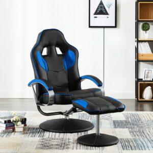 Cadeira estilo corrida c/ apoio de pés couro artificial azul - PORTES GRÁTIS